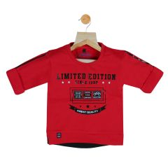 Gusto Baby Boy's Red Cotton Blend Round Neck T_Shirt_(Code-GJ252_RED)
