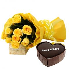Bigwishbox Premium Fresh 10 Yellow Rose Bouquet with 500gm Heart Shape Chocolate Cake