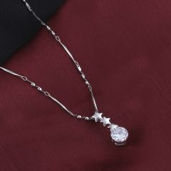 Silver Plated chain With Triple Star Shape Solitaire Diamond Pendant For Women  -  ( Code - NM-547 )