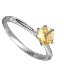 Citrine 5.25 Carat Stone Silver Ring Lab Certified & Natural Stone Ring For Unisex (Code- CEY0002)