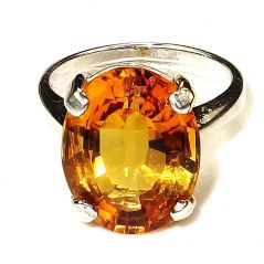 Original Stone Citrine 7.25 Carat Stone Silver Ring Natural Stone Ring Code- CEY0014)