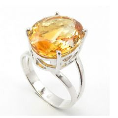6.25 Ratti Natural Citrine Stone Silver Ring For Unisex (Code- CEY0023)