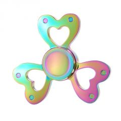 Rainbow Fidget Spinner Heart Shape Tri Metal Portable Kids Reducer Relieves Stress Fidget Spinner Toy