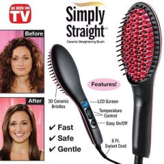 Simply Straight Ceramic Brush Hair Straightener Usa Imported !!!
