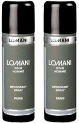 Set of 2 Lomani Grey Deodorant 200 ml each
