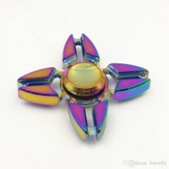 Metal Rainbow 4 Arms Heavy Bearing Fidget Spinner Multicolor Hand Spinner Toy