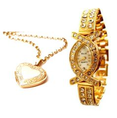 Hi Lifestyles Valentine Exclusive Heart Photo Pendant With Gold Plated Watch - Valentine Gifts For Her