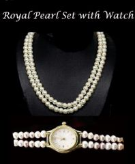 Rakhi Gifts....royal Pearl Set With Watch For Your Sister - Return Gifts