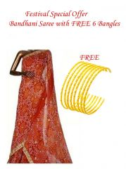 Festival Exxxclusive Offer Bandhani Saree with Free 6 Gold Plated Bangles