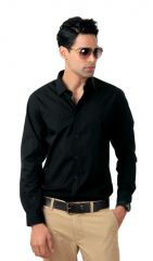H&a Men's Wear - Stylish Party Wear Black Full Sleeves Shirt For Men..Hiblk1