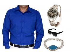 Rakhi Gifts - Salman Khan Turquoise Bracelet And Cool Blue Shirt Combo