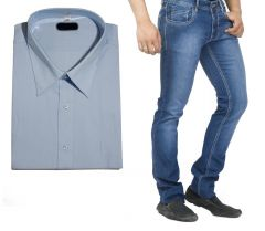 Shop or Gift Buy Branded Blue Jeans And Get Grey Full Sleeves Shirt Free...hijs6 Online.
