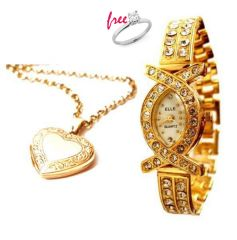 Shop or Gift Buy 1 heart pendant and gold plated watch and get 1 ring free Online.