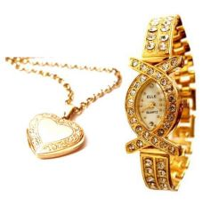 Shop or Gift Heart Photo Pendant With Gold Plated Watch Online.