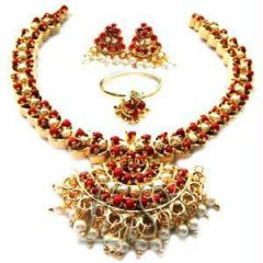 Pearl Jewellery Sets - Gold Plating Coral & Pearls Set