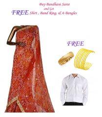 Buy Bandhani Saree and Get Shirt, Band Ring and 6 bangles Free