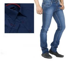 Buy Branded Blue Jeans And Get Navy Blue Full Sleeves Shirt Free...hijs5