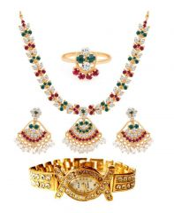 Shop or Gift Valentine Gift Gold Plated Ad Necklace-earring-ring Set WITH free Watch Online.