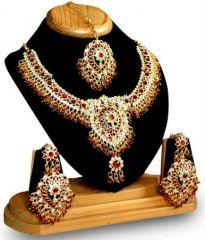Shop or Gift 1 Gram Gold Forming Ethnic Polki Set Online.