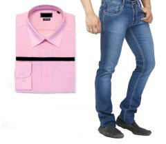 Buy Branded Blue Jeans And Get Pink Full Sleeves Shirt Free...hijs3