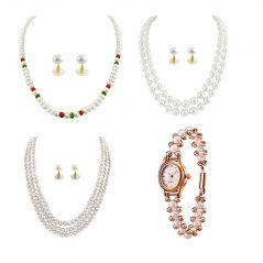 Hi Lifestyles Valentine Bumper Offer 3 Designer Wear Pearl Sets With Watch - Valentine Gifts For Her