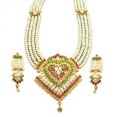 Hi Lifestyles Valentine Special Rich Pearls & Navratna Rani Haar Make Her Feel Special - Valentine Gifts