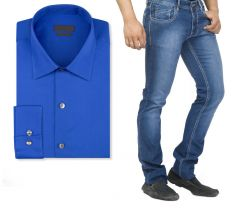 Shop or Gift Buy Branded Blue Jeans And Get White Full Sleeves Shirt Free...hijs8 Online.