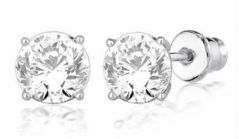 Hi Lifestyles Silver Base Ear Studs With Cz Solitaire1