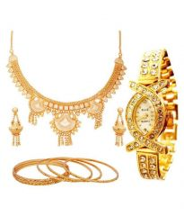 Hi Lifestyles Gold Plated Necklace Set With 6 Gold Plated Bangles With Watch1