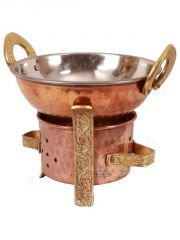 Cookware sets - Handmade Pure Copper Kitchen Set Of 1 Spoon 1 Kadai 1 Sigri For Use Serving