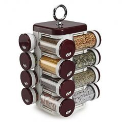 Kitchen storage & containers - Jvs Food Grade Plastic 16 Spice Jar, 6.5x6.5x11.5, Solid Burgundy