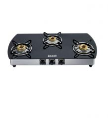 Gas stove & induction cookers - Jazel 3 Burner Cooktop Black Glass Top Toughened Glass (auto Ignition)