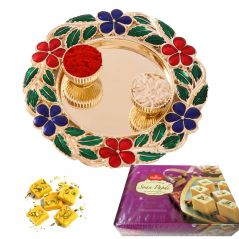 Diwali Bhai Dooj Tikka Floral Thali N Soan Papdi