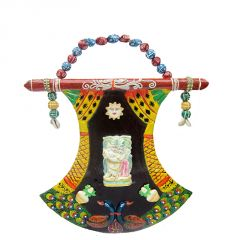 Auspiciou Fan Shape Radha Krishna Mandap Door Wall Hanging