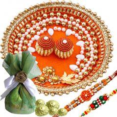 Rakshabandhan Pearl Work Rakhi Tikka Thali With Chocolates