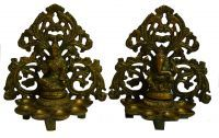 Beautiful Green Antique Gold Brass Finish Pair/set Of Lakshmi & Ganesha Diy