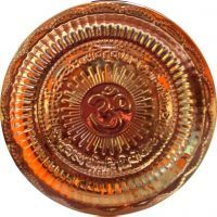 Gold Clave Pure Copper Heavy Pooja Thali - Om Embossed - 19 Cms