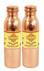 Pure Copper Leak Proof Joint Free Set Of 2 Water Bottle 900 Ml Yoga Ayurved