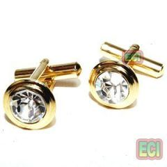 24k Gold Foaming Gents Cufflinks, Ad Diamond Solitaire Golden Men Cuff Link