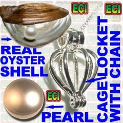 Real Pearl In Real Oyster Cage Pendant & Chain