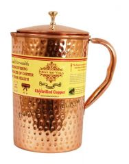 Pure Copper Hammered Jug Pitcher 2100 Ml - Storage Drinking Water Home Hotel Restaurant