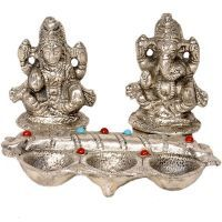 Sunshine Rajasthan White Metal Lord Laxmi Ganeshas With Diya Set 316