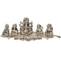 Sunshine Rajasthan Ganesha On Banana Leaf White Metal Pooja Idol 336