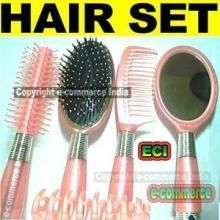 Flat & Round Hair Brush, Comb, Mirror, Hair Clip