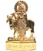 Gold Clave Gold Plated Cow With Krishna Idol - 3 Inches
