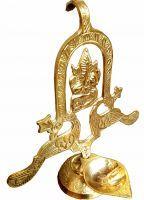 Gold Clave Brass Decorative Diya With Lord Ganesha - 6.5 Inches