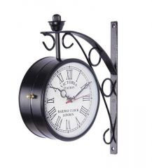 Victoria Two Sided Railway Wall Clock-black 6 Inch