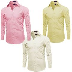 Gift Or Buy Pack Of 3 Off White, Pink And Yellow Formal Shirts For Men - Yellow-pink-offwhite
