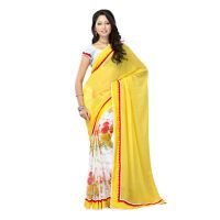 Sarees (Misc) - Fabdeal Yellow, White Colored Marble Dyed Printed Saree Rmhsr9238sgr