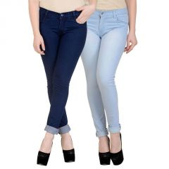 K-san Women's Dark Blue - Light Blue Cotton Jeans-pack Of 2 (product Code - Ksn-2cm-wmnjen-drkblu-iceblus-1)